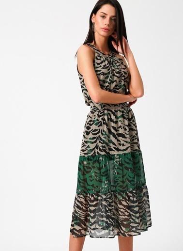 Random Desenli Midi Şifon Elbise Yeşil